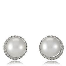 10-11mm South Sea Cultured Pearl & White Topaz Earrings Sterling Silver