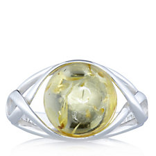 Amber Open Round Ring Sterling Silver