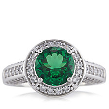 Epiphany Platinum Clad Diamonique 3ct tw Simulated Emerald Ring Sterling Silver