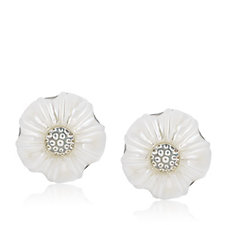 Honora 11-12mm Cultured Pearl Carved Birth Flower Earrings Sterling Silver