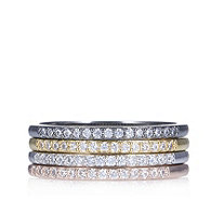 Diamonique 0.6ct tw Set Of 4 Stacking Rings Sterling Silver - 664071