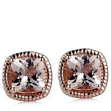 664871 - 1.6ct Morganite Cushion Cut Stud Earrings 9ct Gold