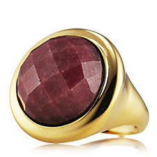 Veronese Round Faceted Rhodonite Ring Sterling Silver