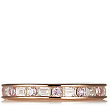 Diamonique 1.3ct tw Baguette & Round Full Eternity Ring Sterling Silver