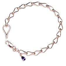 Diamonique 0.7ct tw 19cm Bracelet Rose Gold Vermeil Sterling Silver