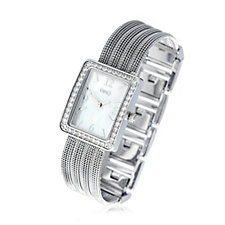Diamonique 0.8ct tw Mother of Pearl Mesh Strap Watch