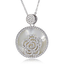 Diamonique by Tova 1ct tw Mother of Pearl Pendant & Chain Sterling Silver