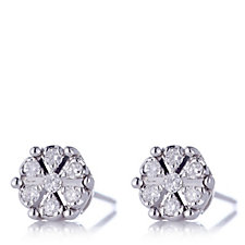 0.1ct Diamond Solitaire Miracle Set Stud Earrings 9ct White Gold