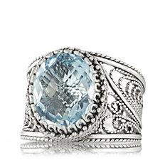 Ottoman Filigree & Gemstone Ring Sterling Silver