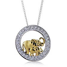 Diamonique by Tova 0.5ct tw Circus Pendant & Chain Sterling Silver