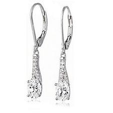 Diamonique 1.6ct tw Simulated Gemstone Pave Leverback Earrings Sterling Silver