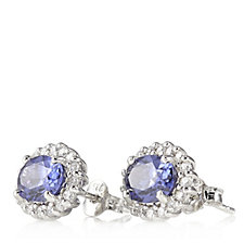 Epiphany Platinum Clad Diamonique 7.3ct tw Halo Stud Earrings Sterling Silver