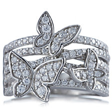 Diamonique 1ct tw Butterfly Scatter Band Ring Sterling Silver