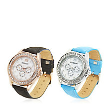 Gossip Set of 2 Mother of Pearl Faux Suede Strap Watches