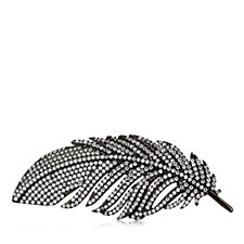 Diamonique 2.3ct tw Feather Brooch/Pendant Sterling Silver