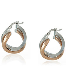 Veronese Classic Dual Colour Hoop Earrings Sterling Silver