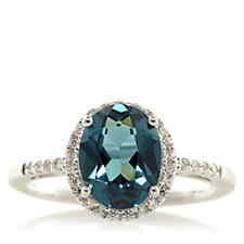 Diamonique 2.1ct tw Simulated Indicolite Oval Cut Ring Sterling Silver