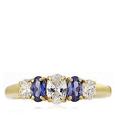 Diamonique 1.3ct tw Simulated Tanzanite Ring Gold Plated Sterling Silver