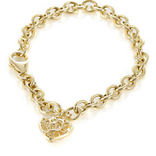 Bella Vita 18ct Gold Plated Heart Charm 20cm Bracelet Bronze