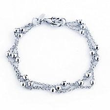 Epiphany Platinum Clad 3 Strand Ball Station Bracelet Sterling Silver
