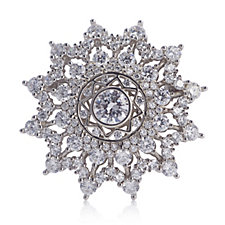 Diamonique 4.7ct tw Starburst Brooch Sterling Silver