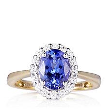 1.5ct AAAA Tanzanite & 0.25ct Diamond Halo Ring 18ct Gold