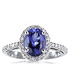 1.5ct AAAA Tanzanite & 0.25ct Diamond Ring Platinum