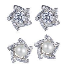 Diamonique 1.4ct tw Interchangeable Earrings Sterling Silver