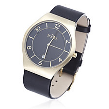 Skagen Gents Black Dial Leather Strap Watch