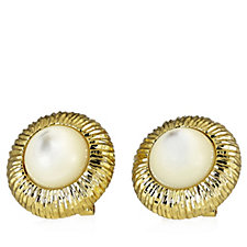 Bella Vita 18ct Gold Plated Pearl Stud Earrings Bronze
