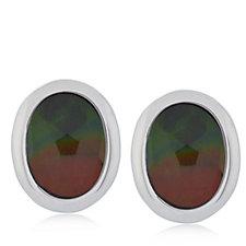 Canadian Ammolite Triplet Oval Stud Earrings Sterling Silver