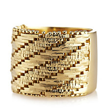 Veronese Wide Band Ring Sterling Silver Gold Plated