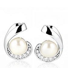 Diamonique 2.7ct tw Swirl Stud Earrings Sterling Silver