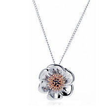 Clogau 9ct Rose Gold & Sterling Silver Poppy 47cm Necklace