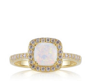 Diamonique 0.3ct tw Cushion Shape Opal Halo Ring Sterling Silver