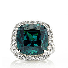 Diamonique 22ct tw Simulated Paraiba Tourmaline Ring Sterling Silver
