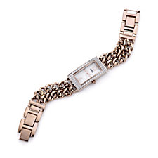 Diamonique 0.8ct tw Mother of Pearl Double Link Bracelet Watch
