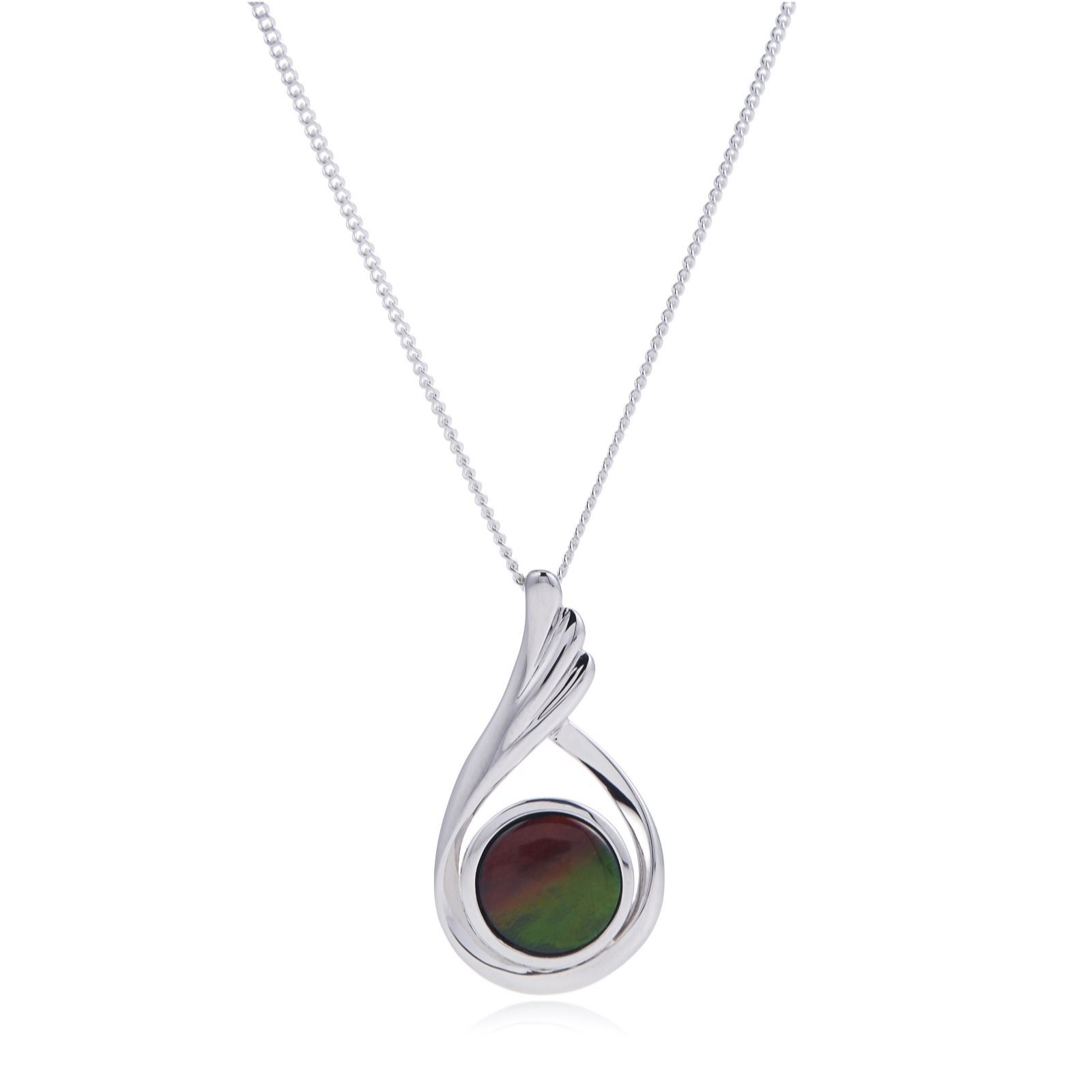 Canadian Ammolite Triplet Flourish Pendant & Chain Sterling Silver