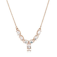 2.50ct Morganite Oval Y Necklace 9ct Rose Gold