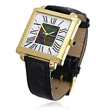 Canadian Ammolite Triplet Inlaid Dial Watch with Leather Strap Stainless Steel