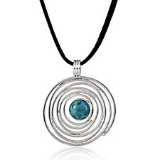 Taxco Traditions BCC Turquoise Spiral Pendant & 42cm Cord Sterling Silver