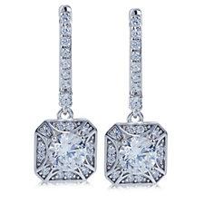 Diamonique by Tova Drop Earrings Sterling Silver