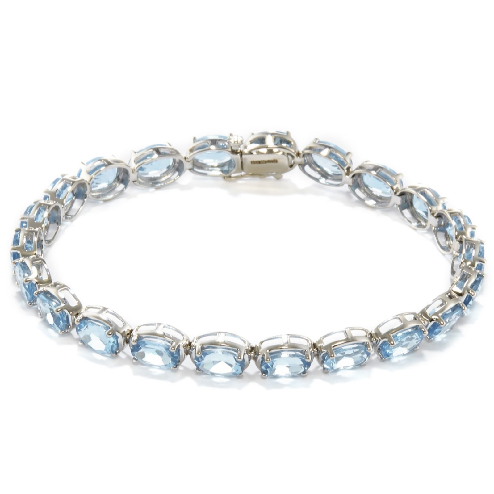 18.7ct Itinga Swiss Blue Topaz Oval Cut 18cm Bracelet Sterling Silver