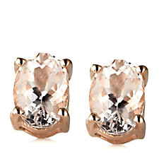 645983 - 1.6ct Morganite Stud Earrings Rose Gold Vermeil Sterling Silver