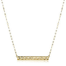 9ct Gold Diamond Cut Horizontal Bar 45cm Necklace