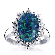 Diamonique 0.6ct tw Simulated Blue Green Opal Halo Ring Sterling Silver