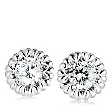 Epiphany Platinum Clad Diamonique 2ct tw Heart Stud Earrings Sterling Silver