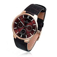 Skagen Gents Multifunction Brown Leather Strap Watch