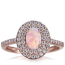 Diamonique 1.6ct tw Simulated Pink Opal Halo Ring Sterling Silver