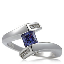 Diamonique 0.9ct tw Princess Cut Bypass Ring Sterling Silver